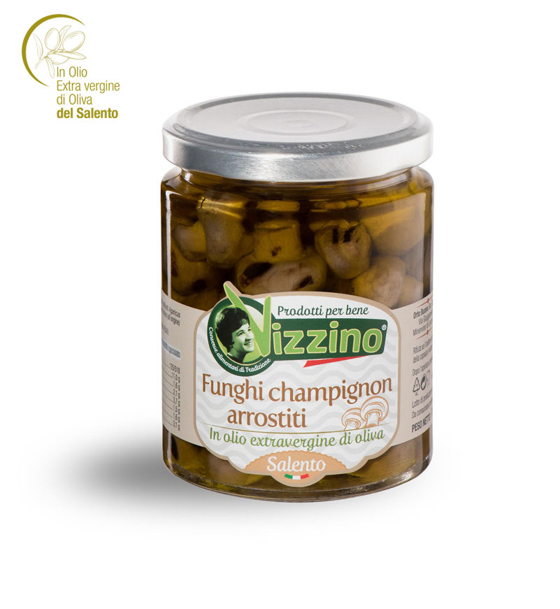 Funghi champignon arrostisti in olio extravergine di oliva