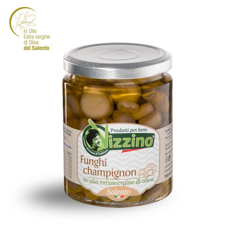 Funghi champignon in olio extravergine di oliva Salento
