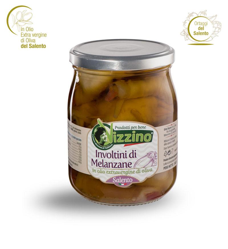 Involtini di melanzane in olio extravergine di oliva