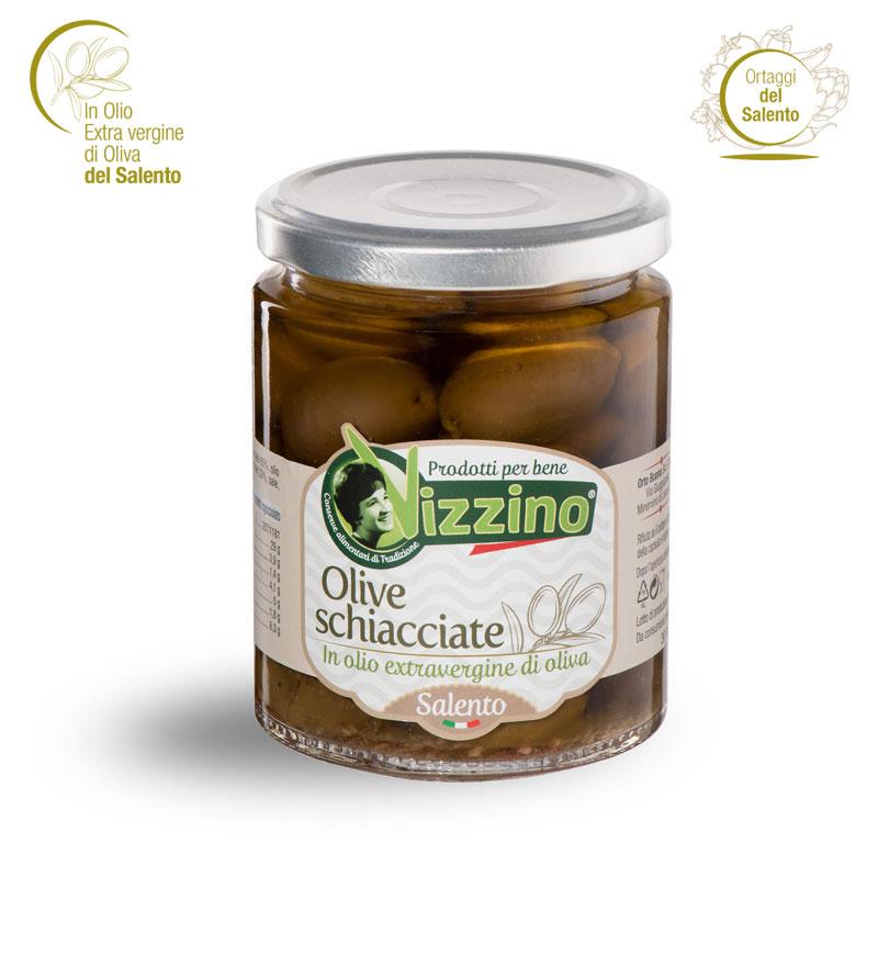 Olive schiacciate in olio extravergine di oliva